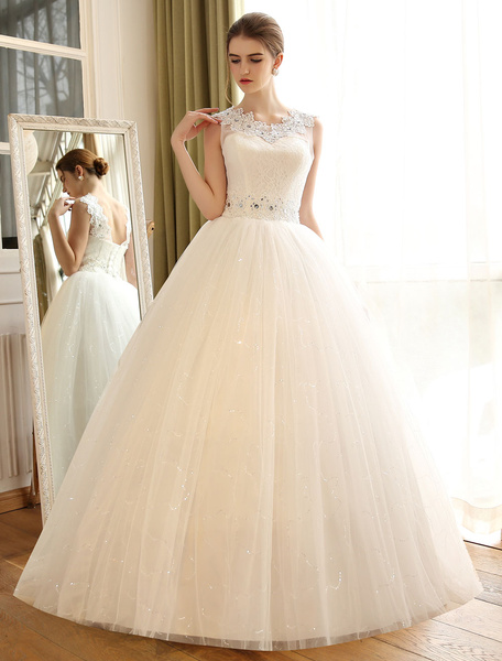 Milanoo Princess Ball Gown Wedding Dresses Lace Applique Backless Beaded Sash Sequin Floor Length Ivory Bridal Dress