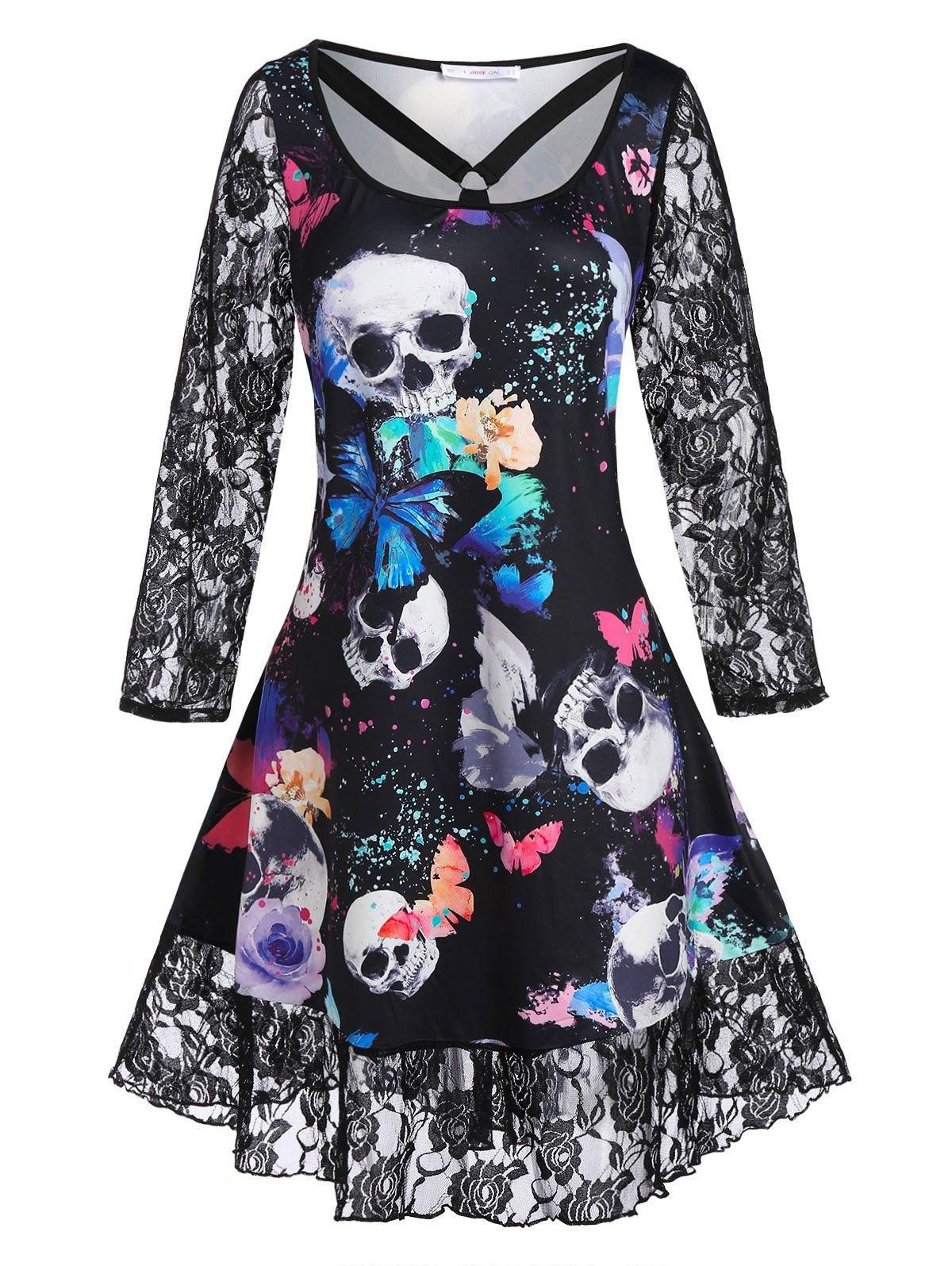 Plus Size Lace Panel Butterfly Skull Pattern Dress