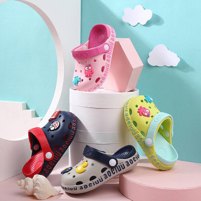 Unisex Kids Hole Cartoons Decor Comfy Non Slip Beach Clog Water Sandals