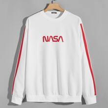 Sweatshirt mit Buchstaben Grafik und Ziernaht