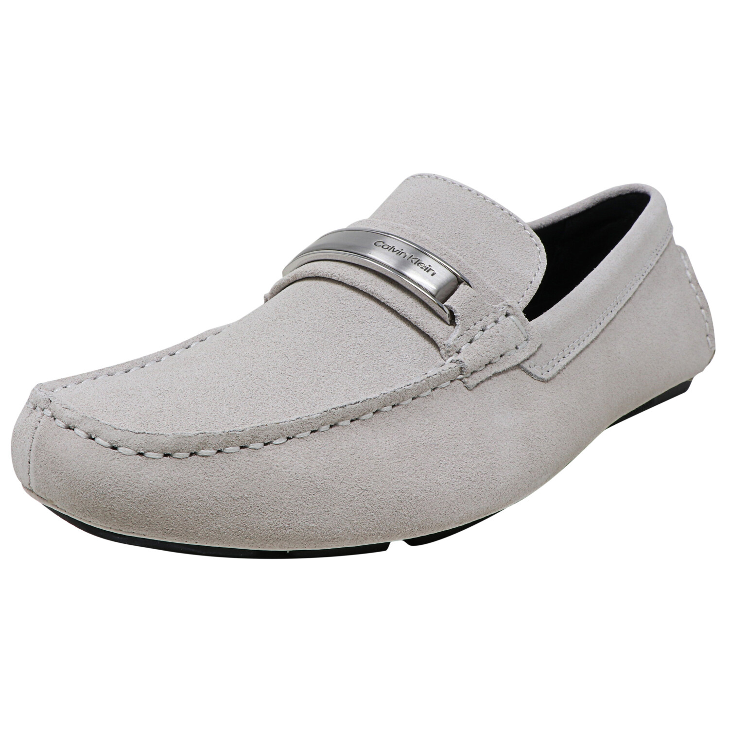 Calvin Klein Men's Merle Silky Suede White Ankle-High Loafers & Slip-On - 13M