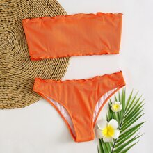 Gerippter Bandeau Bikini Badeanzug mit gekraeuseltem Saum