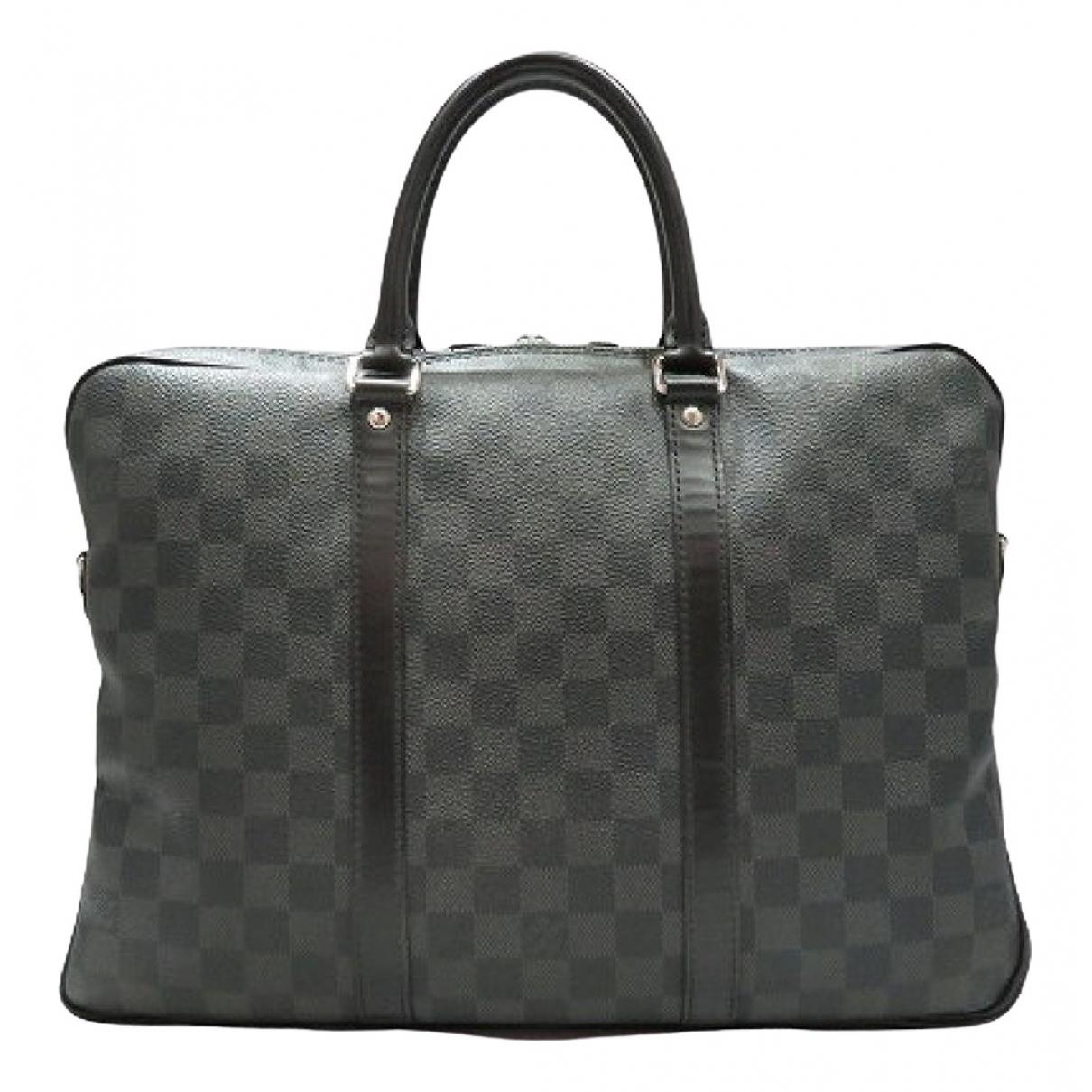 Louis Vuitton Porte Documents Voyage Taschen in  Grau Leinen