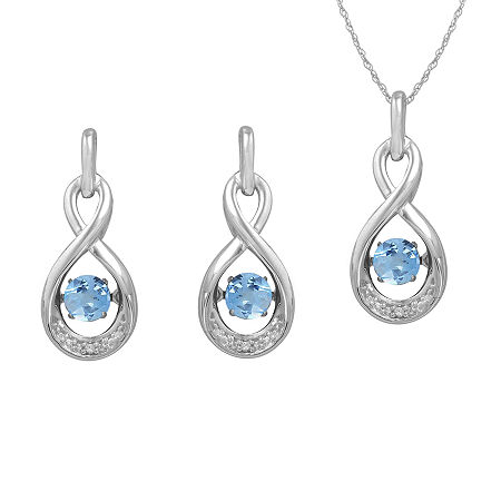 Love in Motion Genuine Blue Topaz & Lab-Created White Sapphire Jewelry Set, One Size , No Color Family