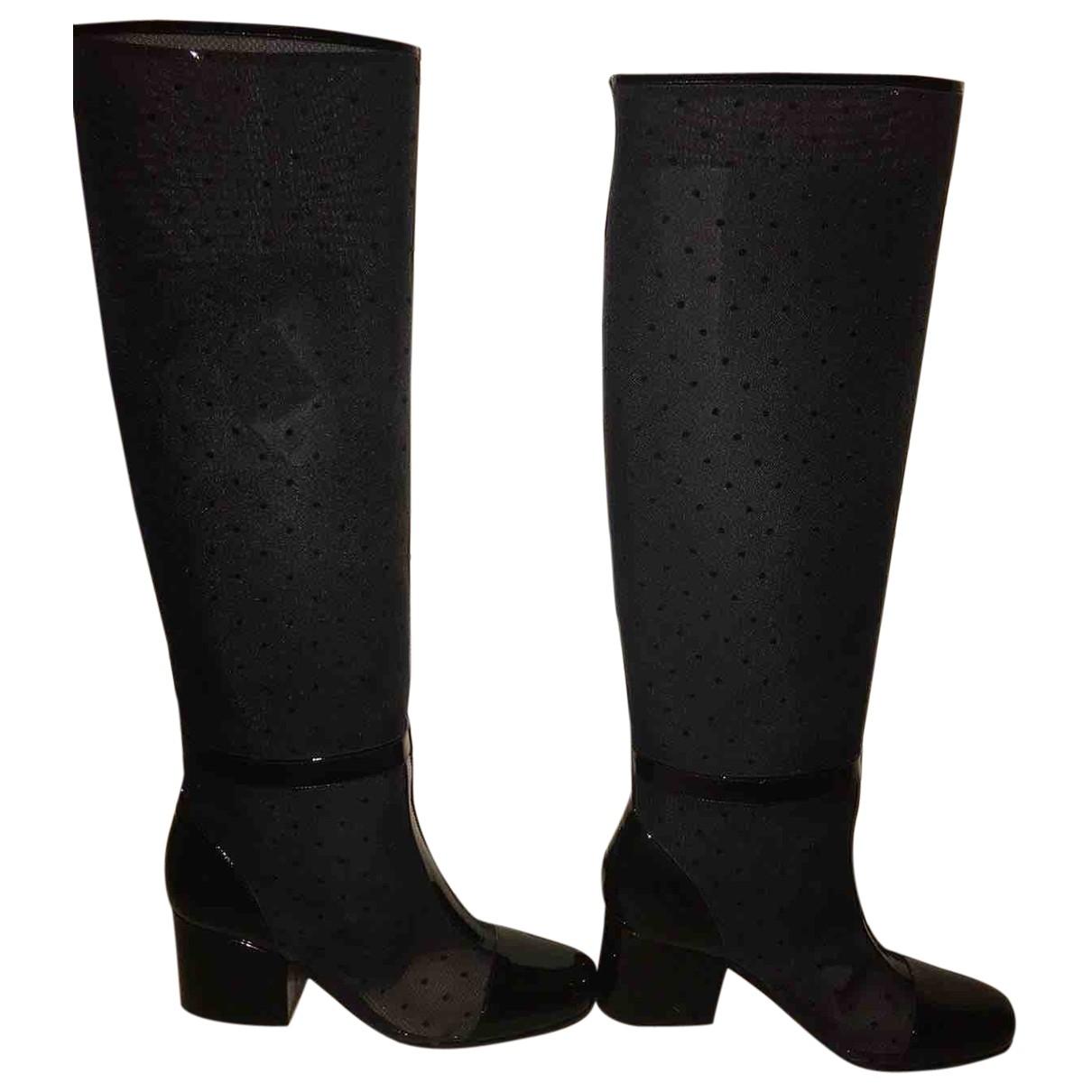 Dior \N Stiefel in  Schwarz Lackleder