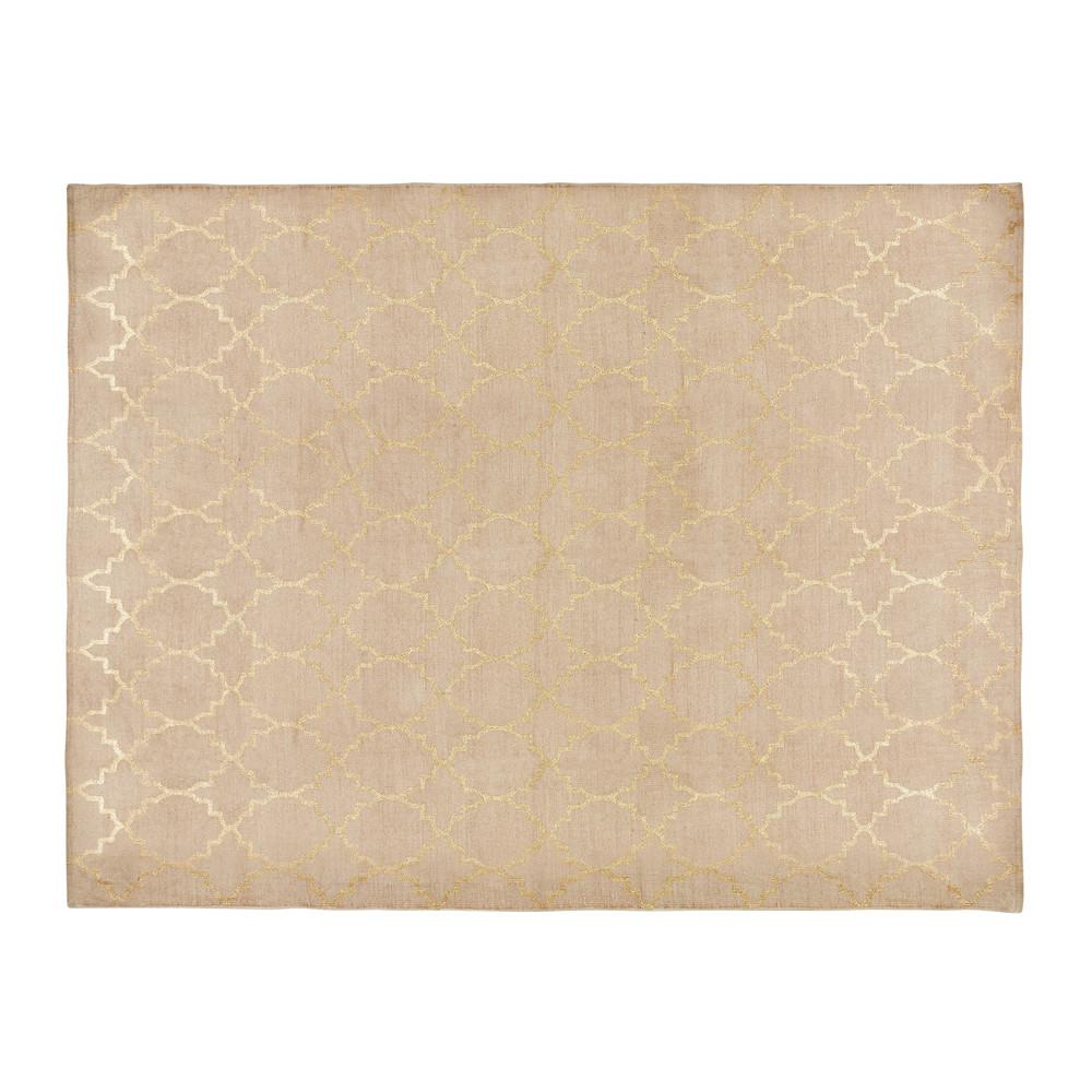Teppich aus beige Baumwolle mit Motiven 140x200 NESTOR