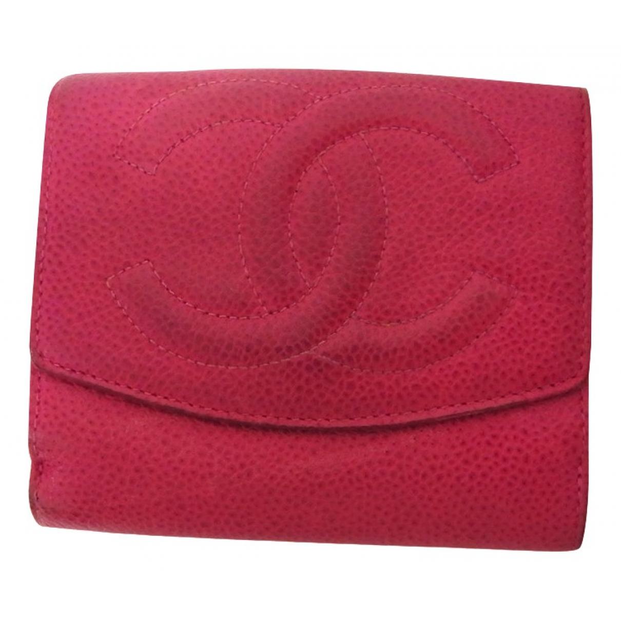 Chanel - Portefeuille   pour femme en cuir - rouge