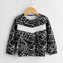 Sweatshirt mit Kontrast und Grafik Einsatz