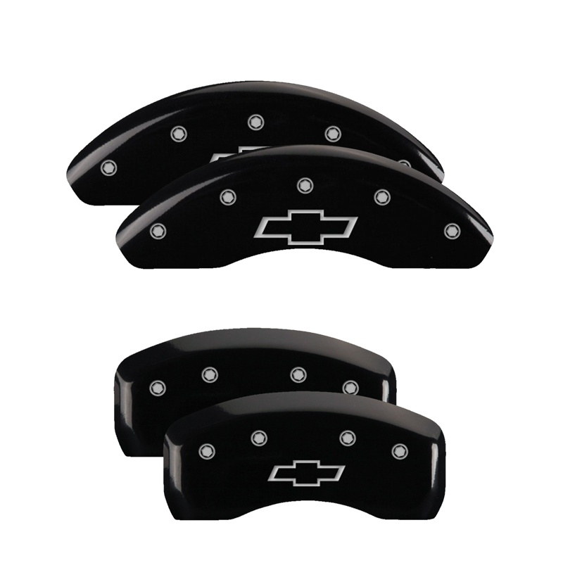 MGP Caliper Covers 14232SBOWBK Set of 4: Black finish, Silver Bowtie/Bowtie Chevrolet Cruze 2014-2016