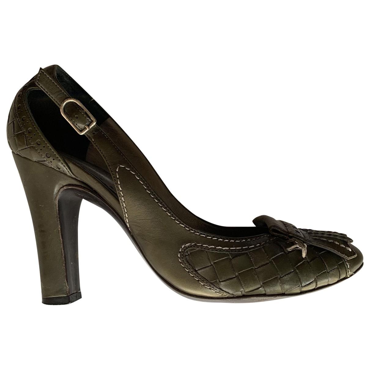 Bottega Veneta \N Green Leather Heels for Women 37 EU