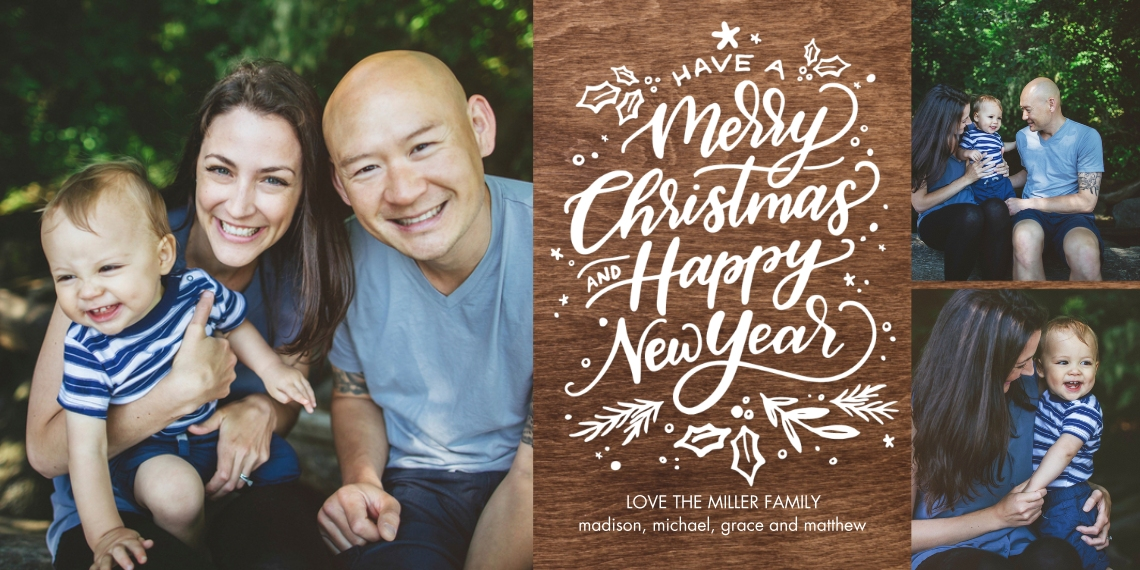 Christmas Photo Cards Flat Glossy Photo Paper Cards with Envelopes, 4x8, Card & Stationery -Christmas Happy New Year Script by Tumbalina