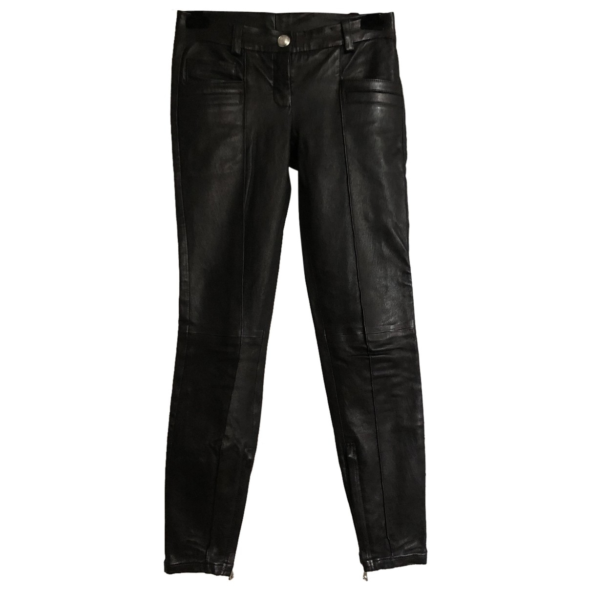 Balmain N Black Leather Trousers for Women 34 FR