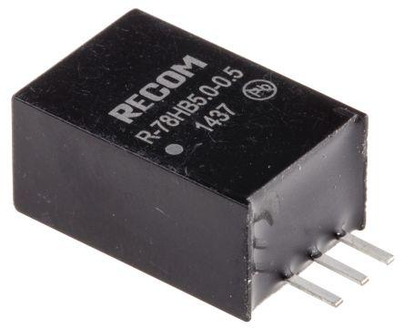 Recom Through Hole Switching Regulator, 5V dc Output Voltage, 9 → 72V dc Input Voltage, 500mA Output Current