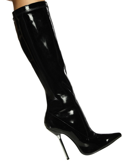 Milanoo Black Knee High Boots Women Sexy Shoes Pointed Toe High Heel Boots