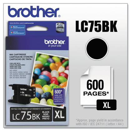 Brother LC75BK Original Black Ink Cartridge High Yield