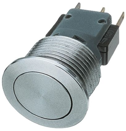 Schurter Single Pole Double Throw (SPDT) Momentary Push Button Switch, IP40, 21.20 (Dia.)mm, Panel Mount, 250V ac
