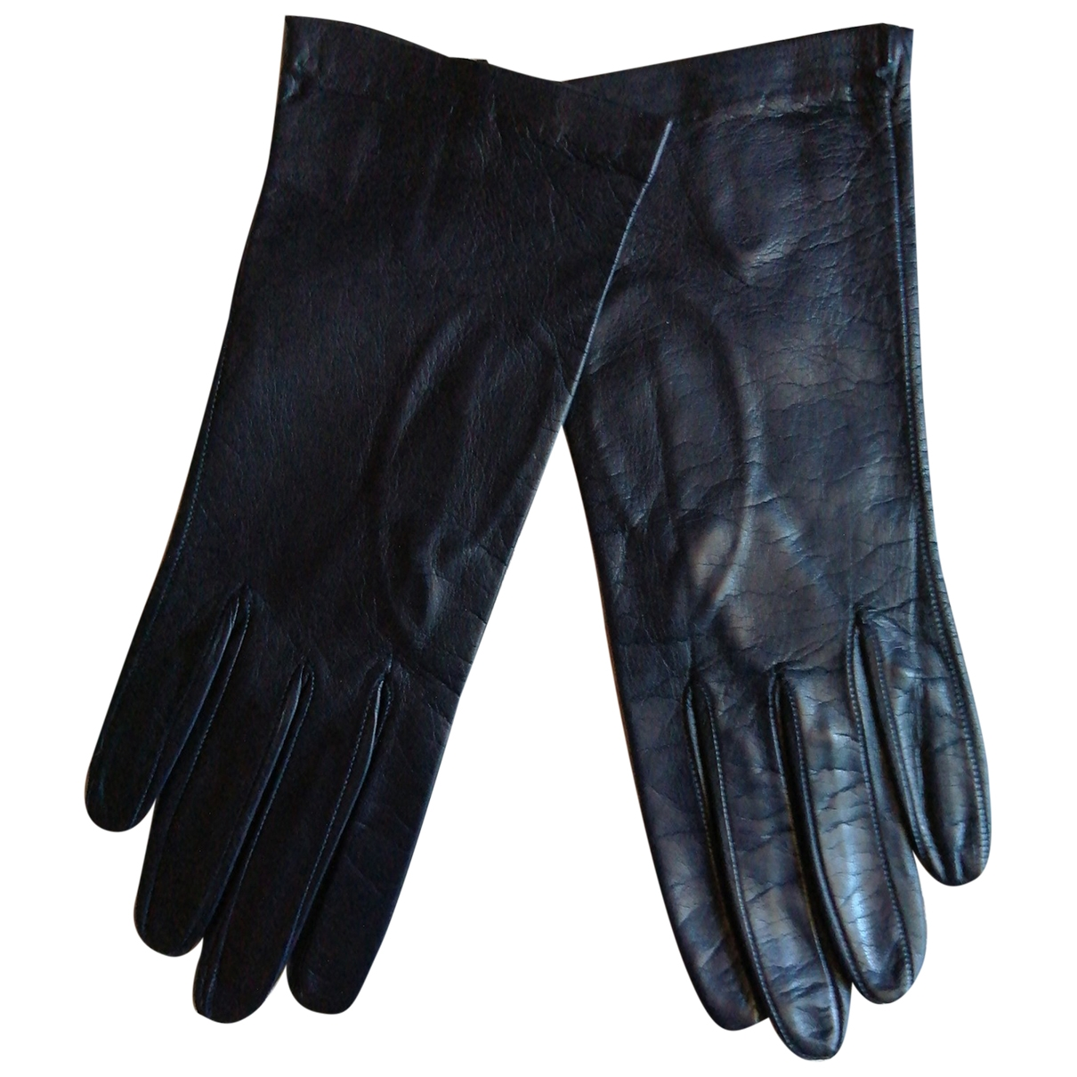 Non Signé / Unsigned \N Blue Leather Gloves for Women S International