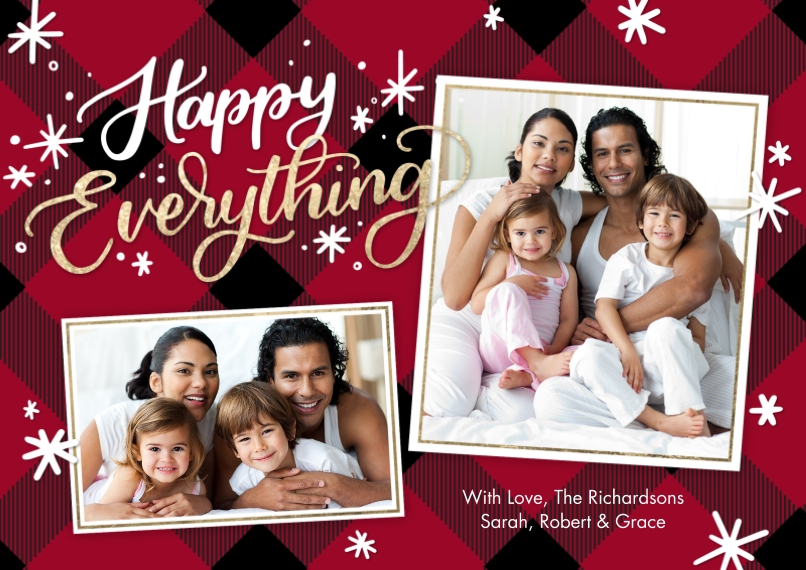 Christmas Photo Cards 5x7 Cards, Premium Cardstock 120lb with Elegant Corners, Card & Stationery -Holiday Happy Everything by Tumbalina