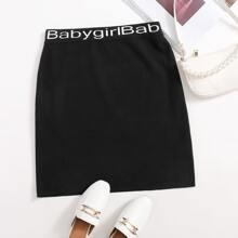 Plus Letter Waist Knit Skirt