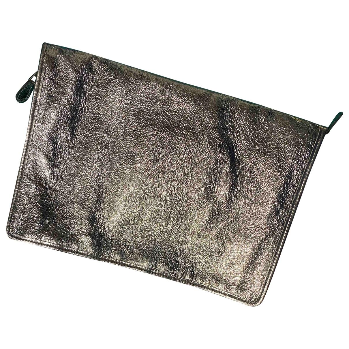 Balenciaga Bazar Bag Clutch in  Silber Leder