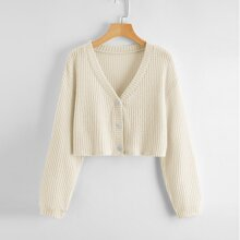 Plus Waffle Knit Button Front Drop Shoulder Top