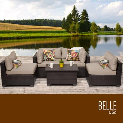 BELLE-05c-WHEAT Belle 5 Piece Outdoor Wicker Patio Furniture Set 05c with 2 Covers: Wheat and