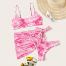 Set de bikini de tie dye 3 piezas