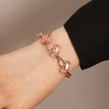 Cat Eye Stone Leaf Decor Bracelet