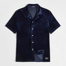 Men Revere Collar Velvet Shirt