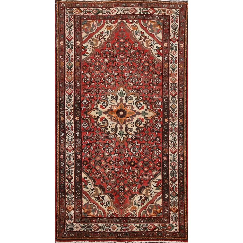 Vintage Geometric Traditional Hamedan Persian Area Rug Wool Handmade - 4'1