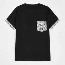 Men Cat Print Short Sleeve Tee