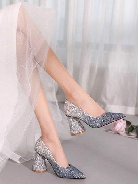 Milanoo High Heel Party Shoes Chunky Heels Silver Pointed Toe Sequined Cloth Evening Shoes