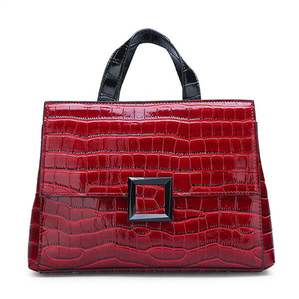 Women Faux Leather Vintage Alligator Tote Handbag Shoulder Bag