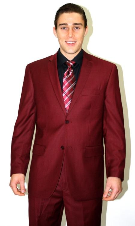Mens 2 piece affordable suit online sale Burgundy