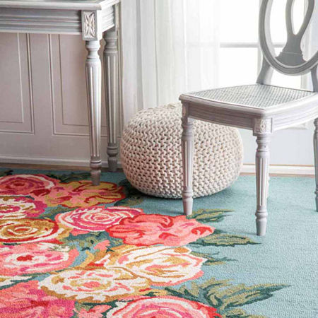 nuLoom Hand Hooked Rose Bouquet Rug, One Size , Blue