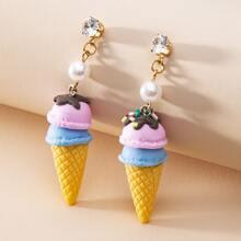 Girls Rhinestone Ice Cream Drop Earrings