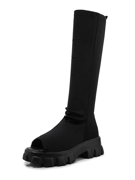 Milanoo Black Summer Boots Women Peep Toe Plus Size Stretch Boots