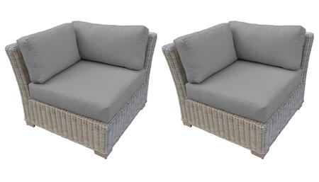 TKC038b-CS-DB-GREY Corner Chair 2 Per Box - Beige and Grey