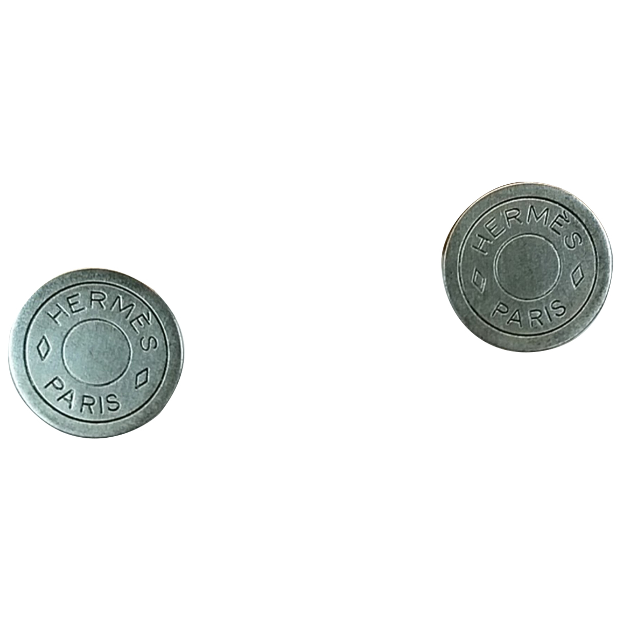 Hermes Clou de Selle OhrRing in  Silber Metall