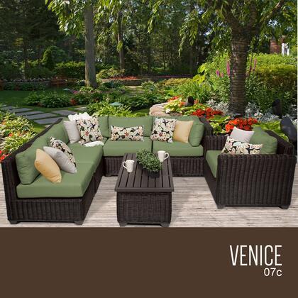 VENICE-07c-CILANTRO Venice 7 Piece Outdoor Wicker Patio Furniture Set 07c with 2 Covers: Wheat and