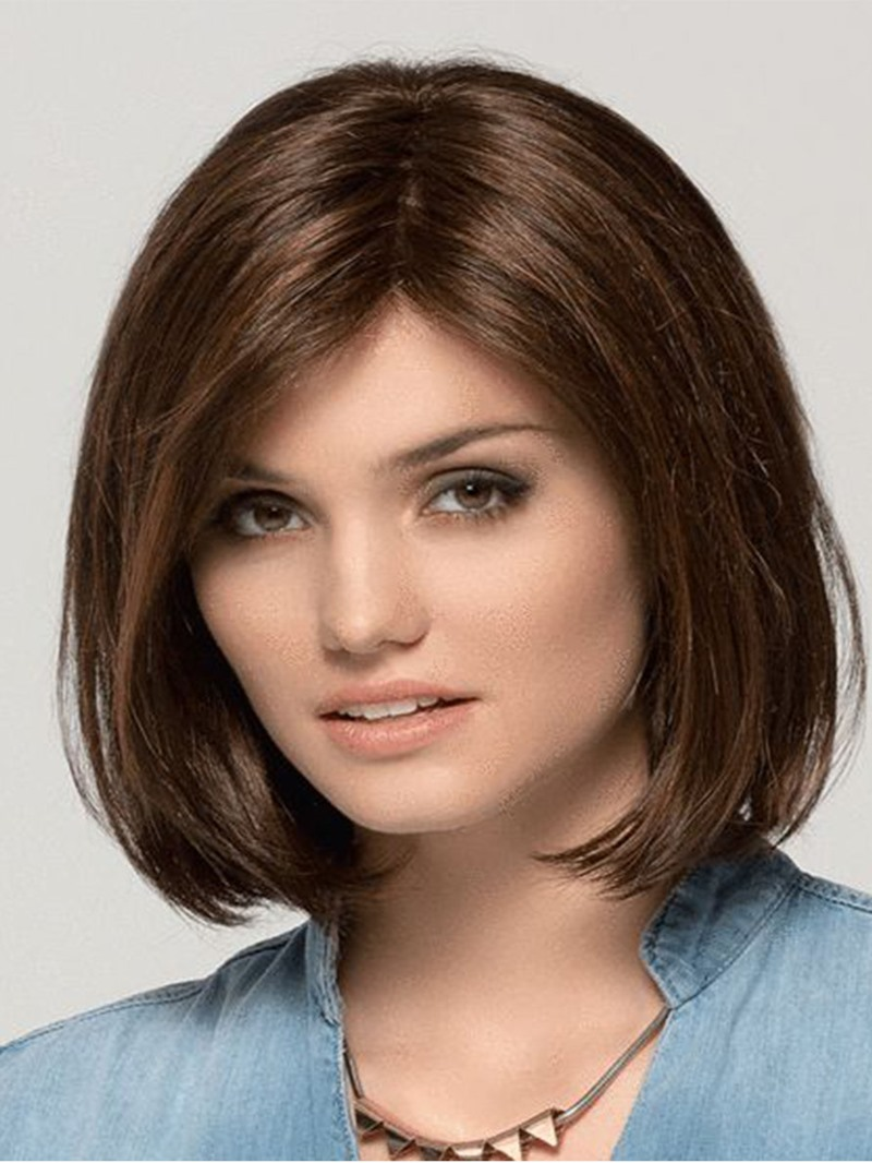 Ericdress Womens Bob Hairstyles Medium Length Natural Synthetic Hair Capless Wigs 14Inches