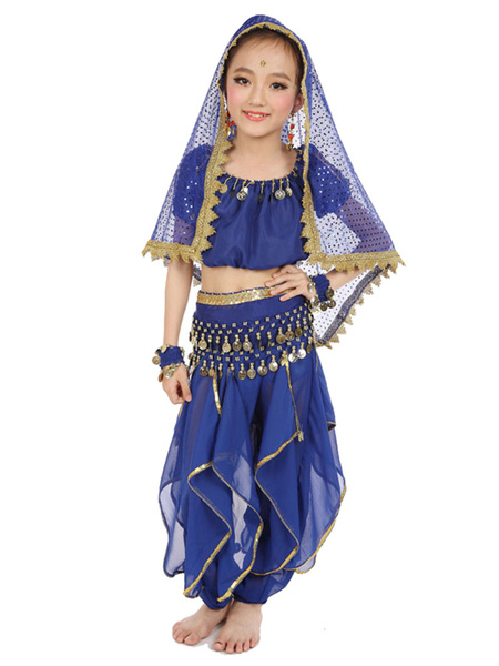 Milanoo Belly Dance Costume Kids Yellow Chiffon Bollywood Indian Dancing Costumes