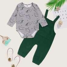 Baby Boy Cartoon Dinosaur Print Bodysuit & Overall Jumpsuit