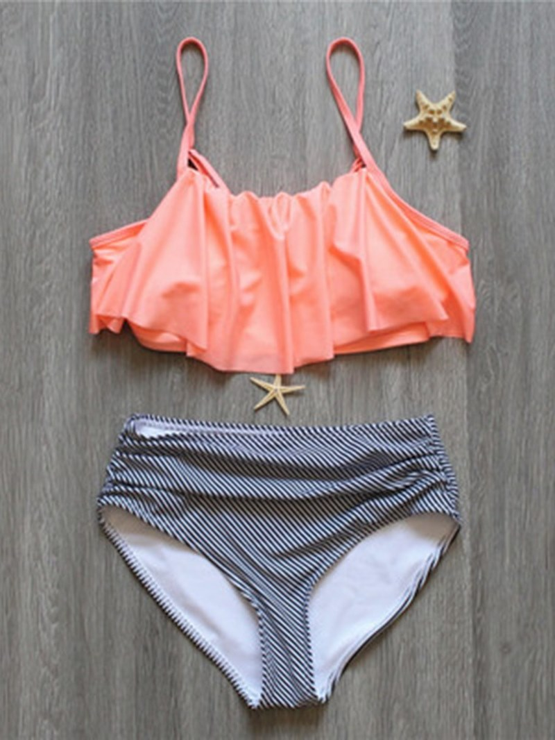 Print Falbala backless Bikini