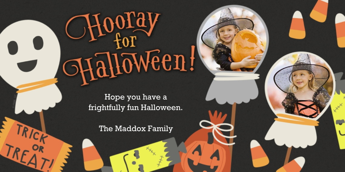 Halloween Photo Cards Flat Matte Photo Paper Cards with Envelopes, 4x8, Card & Stationery -Fun Halloween Icons by Hallmark