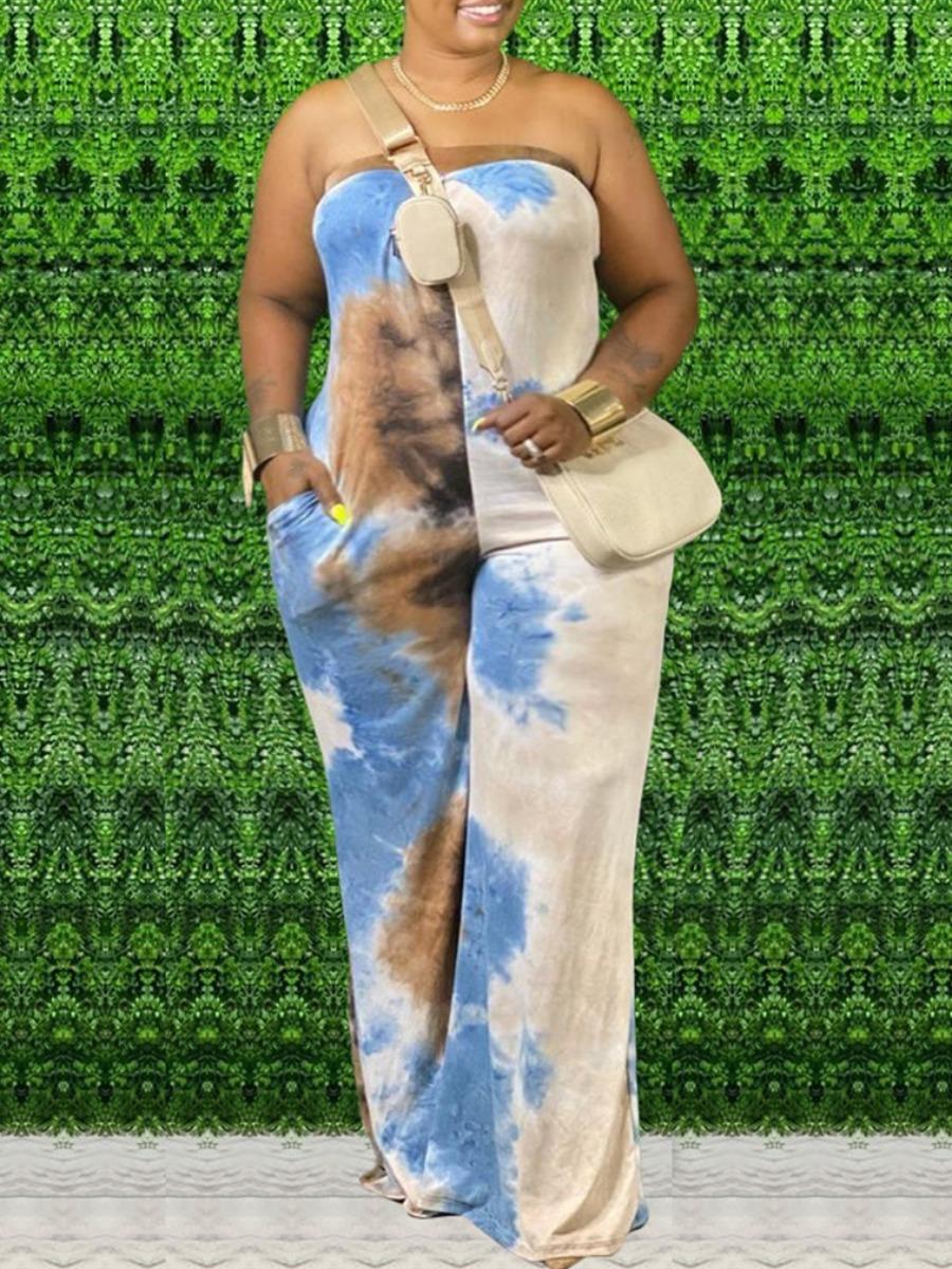 LW lovely Trendy Dew Shoulder Tie-dye Blue Plus Size One-piece Jumpsuit