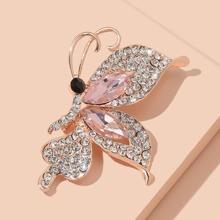 Rhinestone Decor Butterfly Design Brooch