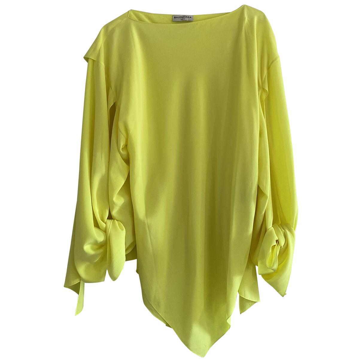 Balenciaga - Top   pour femme en soie - jaune