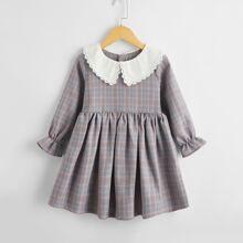 Vestidos para niña pequeña A cuadros Dulce
