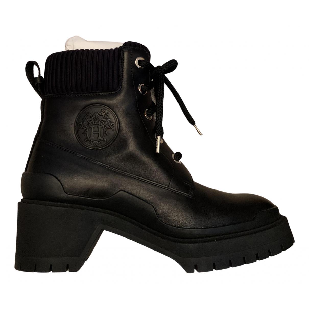 Hermes \N Stiefeletten in  Schwarz Leder